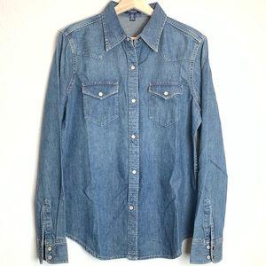 Chaps Long Sleeve Denim Jean Button Down Top